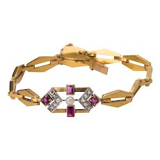 Art Deco bracelet circa 1930 rose-cut diamond ruby pearl 18 k yellow gold
