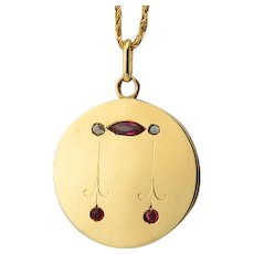 Locket / pendant rose-cut diamonds lab-made rubies circa 1920-30 s 18 karat yellow gold