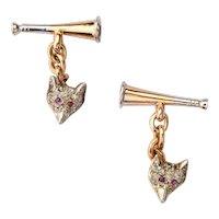 Double sided Fox / Horn  Cufflinks diamond ruby 14 karat yellow gold platinum circa 1900
