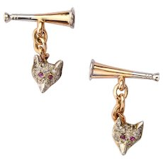 Double sided Fox / Horn  Cufflinks diamond ruby 14 karat yellow gold platinum circa 1900