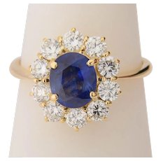 0.90 cwt diamond 1.50 carat Sapphire engagement ring 18 k yellow gold circa 1970