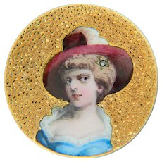Victorian painted enamel woman`s portrait brooch 18 karat yellow gold circa 1880 s