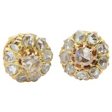 Antique diamonds earrings Victorian circa 1890 rose-cut diamonds 18 k yellow gold cluster earrings