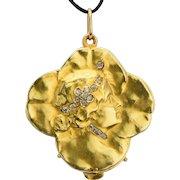 Antique Art Nouveau locket pendant diamonds lucky four clover leaves 18 k yellow gold circa 1895 s