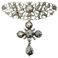 Antique Georgian silver cross pendant rose-cut diamonds circa 1790 s