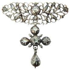 Antique Georgian silver cross pendant rose-cut diamonds circa 1790 s