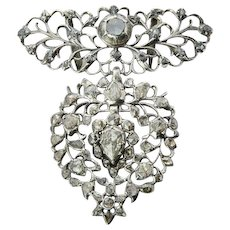"Antique "" Flemish Heart"" Georgian pendant silver rose-cut diamonds pendant circa 1815 s"