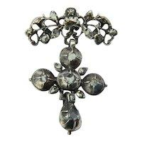 Georgian silver cross pendant rose-cut diamonds circa 1780 s