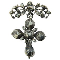 Georgian silver cross pendant rose-cut diamonds circa 1780 s