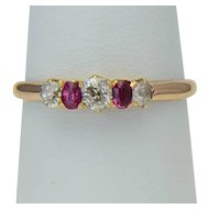 Sweet classical antique Victorian diamonds and rubies five stones ring dating circa 1890 s
