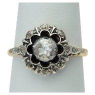 Vintage Georgian style rose-cut diamonds cluster ring circa 1950 s 14 karat yellow gold and silver