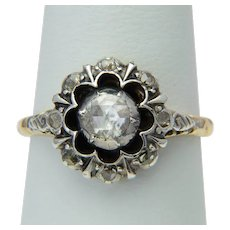 Vintage Georgian style rose-cut diamonds cluster ring circa 1950 s 14 karat yellow gold and silver