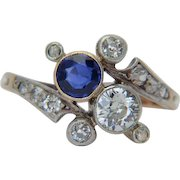 """Antique """"You and Me"""" diamond natural sapphire cross-over engagement ring Victorian / Art Nouveau circa 1890 s """" Toi et Moi """" silver over 18 k yellow gold"""