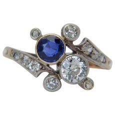 "Antique ""You and Me"" diamond natural sapphire cross-over engagement ring Victorian / Art Nouveau circa 1890 s "" Toi et Moi "" silver over 18 k yellow gold"