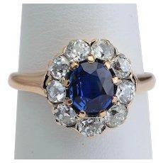 Antique Victorian ring non-heated Ceylon sapphire and diamonds cluster ring circa 1890s