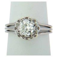 Antique French solitaire 1 carat diamond platinum ring