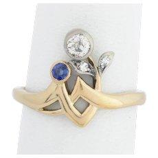 Art Nouveau engagement ring diamond sapphire 18 k yellow gold silver circa 1900 s