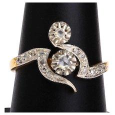 Art Nouveau diamond engagement ring 18 k yellow gold platinum circa 1900 s