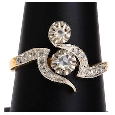 Art Nouveau you and me diamond ring 18 k yellow gold platinum circa 1900 s