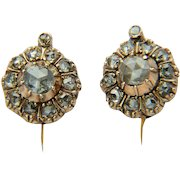 Antique Late Georgian diamond cluster earrings 18 k yellow gold circa 1830 s
