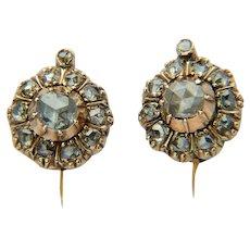 Antique Late Georgian diamond cluster earrings 18 karat yellow gold circa 1830 s