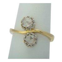 "Art Nouveau ""Toi et Moi"" rose-cut diamonds engagement ring 18 k yellow gold and platinum circa 1900 s"