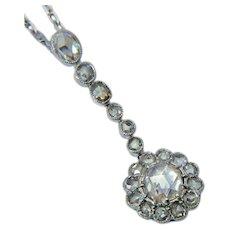 Elegant Antique 2.05 cwt rose-cut diamond necklace Edwardian circa 1915
