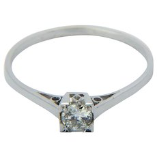 Art Deco solitaire diamond 0.20 ct engagement ring 18 k white gold and platinum circa 1930 s