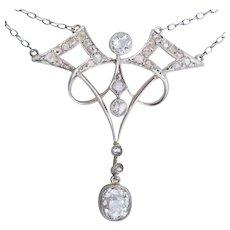 Antique Art Nouveau diamond necklace platinum 18 k yellow gold circa 1900 s