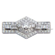 Sparkling 3.10 cwt diamond brooch platinum 950 Art Deco  circa 1925 s
