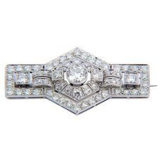Sparkling 3.10 cwt diamond brooch platinum 950 Art Deco  circa 1925 s