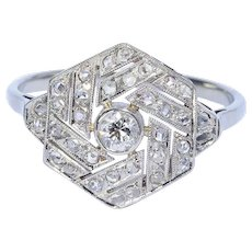 Art Deco diamond ring platinum 18 k white gold circa 1920 engagement ring / anniversary ring
