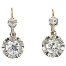 Antique 0.60 cwt diamond drop earrings 18 k yellow gold and platinum circa 1910 s