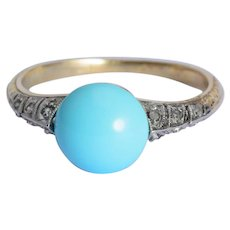 Antique Victorian ring Turquoise diamond 18 k yellow gold and silver circa 1880 s