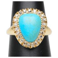 Antique Turquoise cabochon diamond ring 0.46 cwt old mine-cut diamonds 18 karat yellow gold circa 1880 s