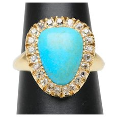Antique Turquoise diamond ring 0.46 cwt old mine-cut diamonds 18 karat yellow gold circa 1880 s