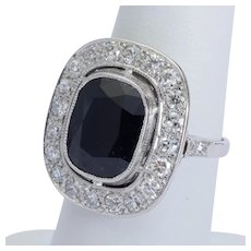 Sapphire 6.10 carat Diamonds 1.10 cwt engagement ring Edwardian circa 1910 s