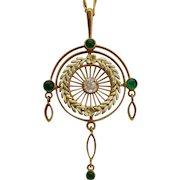 Antique Victorian diamond emeralds necklace 14 k yellow gold circa 1890