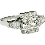 Art Deco 1.35 cwt diamonds engagement ring platinum 950 circa 1930 s
