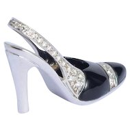 High heel shoe pendant necklace diamond onyx white gold 18 karat with its original 18 karat white gold chain