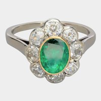Antique superb Colombian Emerald old cut diamonds cluster ring circa 1915