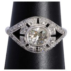 Antique 1.95 cwt diamond engagement ring platinum 900 circa 1915
