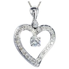 Romantic Diamond Heart pendant and chain 18 karat white gold circa 1960 s