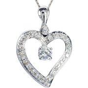 Vintage 0.45 cwt Diamond Heart-shape necklace 18 k white gold circa 1960 s