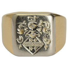 Antique signet ring family crests ring 18 k yellow gold 11 gram circa 1900 s