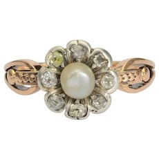 Antique Georgian diamond pearl daisy ring 18 k yellow gold and silver circa 1810 s