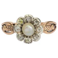 Antique Georgian diamond pearl daisy ring 18 k yellow gold and silver circa 1810 s