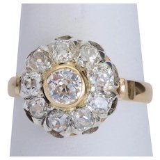 Antique sparkling 2.12 cwt diamonds ring Edwardian circa 1910 s 18 k yellow gold and platinum