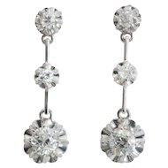 Art Deco sparkling 1.30 cwt diamonds drop earrings 18 k white gold circa 1920 s
