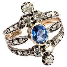 Rare Victorian diamond sapphire ring 18 k yellow gold silver circa 1880